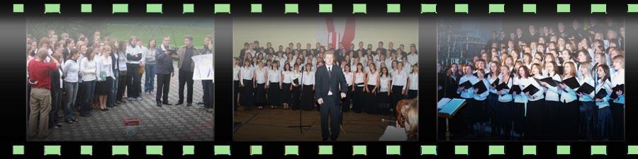 Od lewej: obóz w Czechach (2007), 15-lecie chóru (2007), koncert kolęd z Haliną Frąckowiak (2007).